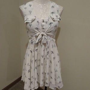 Line & Dot silk chandelier print tie front dress